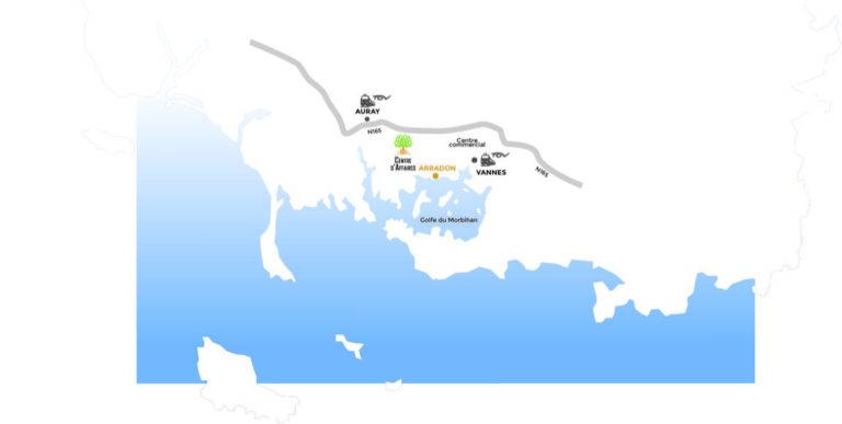 Plan de localisation du Centre d'Affaires d'Arradon